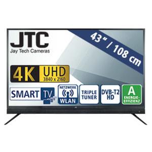 "43""-Ultra-HD-LED-TV Atlantis Sound 4.3 UHD Smart • 3 HDMI-/USB-Anschlüsse, CI+ • Stand-by: 0,5 Watt, Betrieb: 60 Watt • Maße: H 60,3 x B 97,1 x T 9,5 cm • Energie-Effizienz A (Spektrum A+"