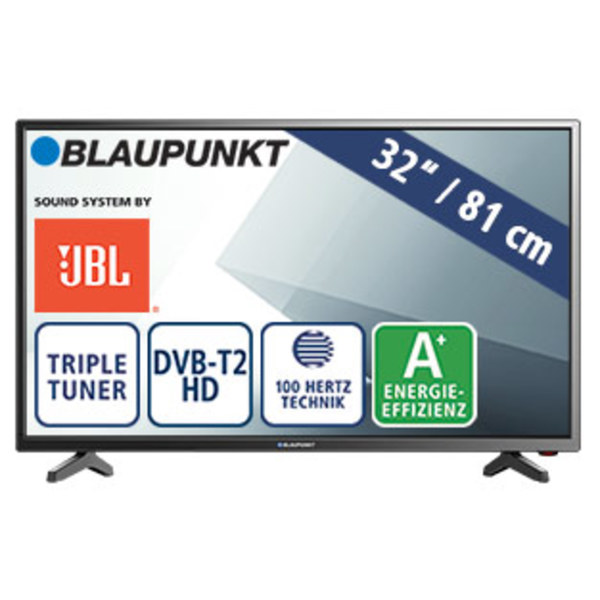 "32""-LED-HD-TV BLA-32/138O • 3 HDMI-/2 USBAnschlüsse, CI+ • Stand-by: 0,5 Watt, Betrieb: 31 Watt • Maße: H 43,1 x B 73,2 x T 8,4 cm • Energie-Effizienz A+ (Spektrum A++ bis E)"