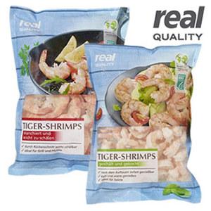 Tiger Shrimps blanchiert, gekocht oder Rotgarnele roh aus Wildfang, gefroren, jede 750-g-Packung/675 g Abtropfgewicht  und weitere Sorten