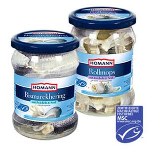 Homann Rollmops oder Bismarckhering und weitere Sorten, jedes 500-g-Glas/250 g Abtropfgewicht