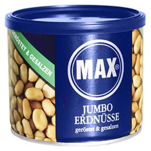 Max Jumbo Erdnüsse geröstet gesalzen oder ungesalzen jede 300-g-Dose