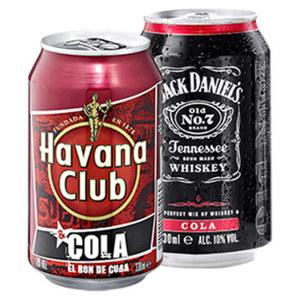 Jack Daniels & Cola oder Havana & Cola 10/10 % Vol. und weitere Sorten, jede 0,33-l-Dose
