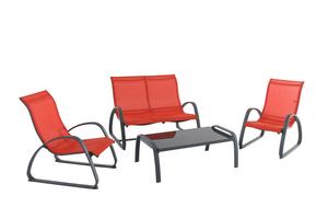 Silvertree Alu-Lounge-Set Fynn 4-teilig, grau/orange