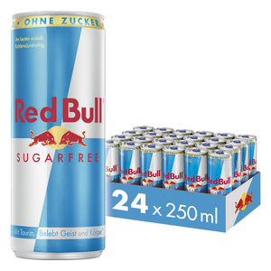 Red Bull Energy Drink Sugarfree 24 x 250 ml Dosen Getränke, Zuckerfrei 24er Palette inkl. 6,00€ Pfand