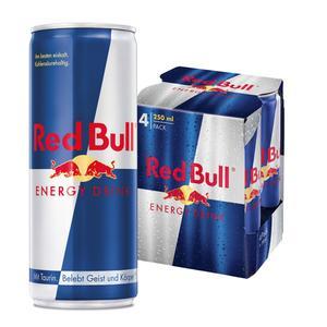 Red Bull Energy Drink 4 x 250 ml Dosen Getränke, 4er Pack inkl. 1,00€ Pfand