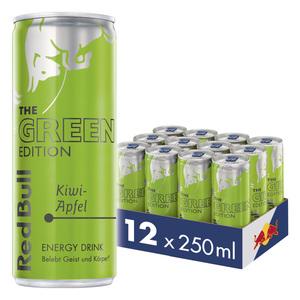 Red Bull Energy Drink Kiwi-Apfel 12 x 250 ml Dosen Getränke, Green Edition 12er Palette inkl. 3,00€ Pfand