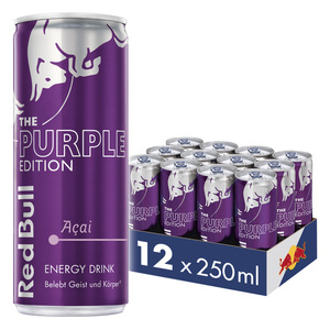 Red Bull Energy Drink Acai-Beere 12 x 250 ml Dosen Getränke, Purple Edition 12er Palette inkl. 3,00€ Pfand