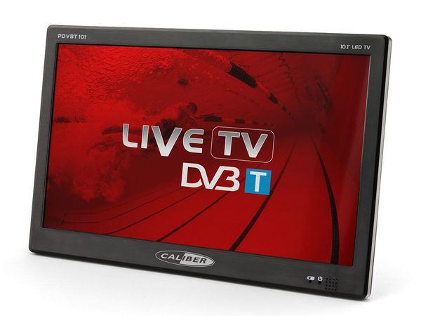 Caliber Tragbarer TV mit 10 Zoll LED Bildschirm mit eingebauter Akku, inkl. 12V Kfz-Anschlusskabel PDVBT101