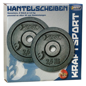 Best Sporting Hantelscheiben aus Gusseisen, verschiedene Gewichtsausführungen, Gewicht:2 x 2.5 kg