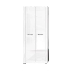 CASAVANTI Garderobenschrank DANA Weiß/Weiß Hochglanz ca. 80 x 192 x 36 cm