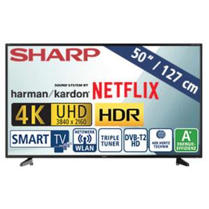 "50""-Ultra-HD-LED-TV LC-50UI7222E • HbbTV • 3 HDMI-/2 USB-Anschlüsse, USB 3.0, CI+ • 2 x 10 Watt RMS • Stand-by: 0,5 Watt, Betrieb: 70 Watt • Maße: H 65,1 x B 112, 4 x T 8,6 cm • Energ"