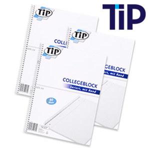 Collegeblock DIN A4, 80 Blatt, perforiert und gelocht, mit Rand, liniert oder kariert, ab 3 Stück je