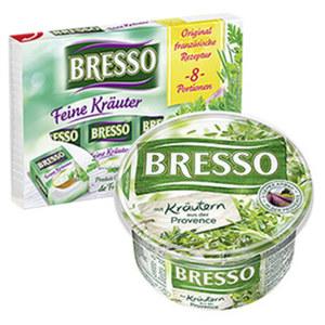 Bresso Frischkäse 60 % Fett i. Tr./18 % Fett absolut, versch. Sorten,  120/150-g-Packung, ab 2 Packungen je
