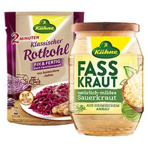 Kühne Rotkohl, Sauerkraut oder Fasskraut traditioneller Art versch. Sorten, jeder 400-g-Beutel/jedes 720-g-Glas/650 g Abtropfgewicht
