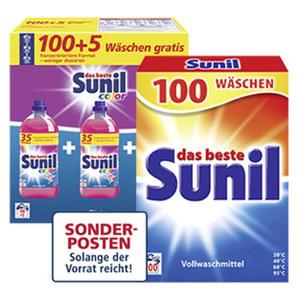 Sunil Waschmittel 100/105 Waschladungen, verch. Sorten, jede Packung