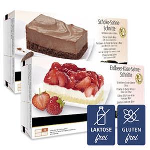 Erlenbacher Sahne Schnitten Schoko, Erdbeere oder Pfirsich-Käsesahne, gefroren, jede 350/425-g-Packung