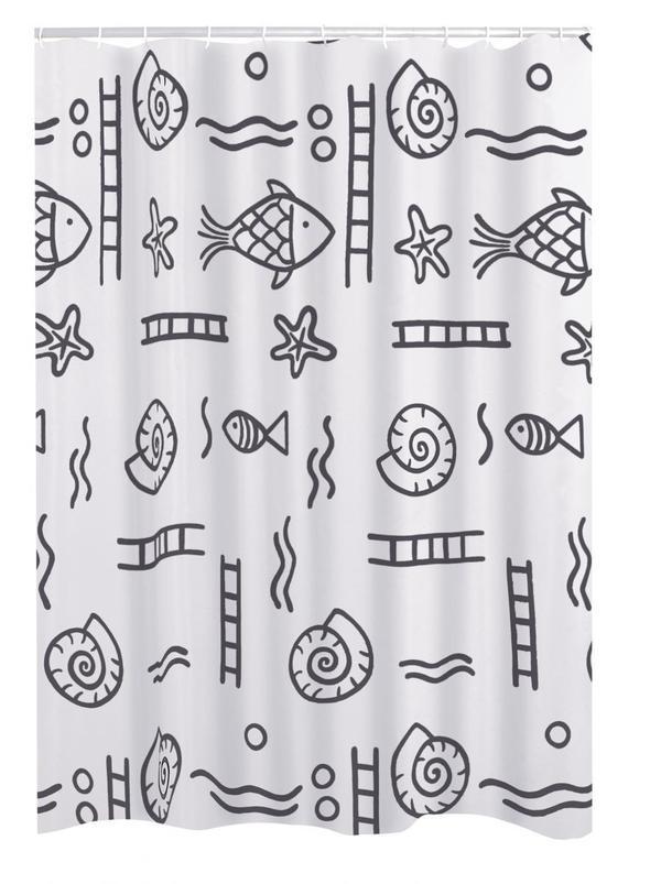 Ridder Duschvorhang Textil 180x200 Cm Neptun Grau Von Norma Ansehen
