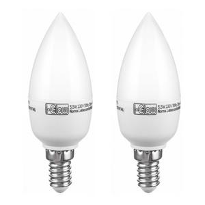 I-Glow LED-Leuchtmittel dimmbar Kerze E14 5,5W - 2er Set