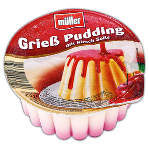 Müller Pudding mit Soße