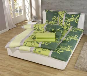 6 tlg. Fleece Bettwäsche 135x200 - Ranke grün, 135X200,