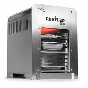 Rustler 800 Hochleistungsgrill Oberhitze Gasgrill aus Edelstahl für Temperaturen bis zu 800° C mit Piezozünder, inkl. Grillrost, Auffangschale und Warmhalteschale