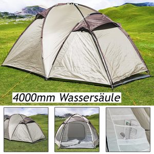 Zelt Igluzelt Kuppelzelt Campingzelt | für 3 Personen | 4.000 mm Wassersäule |  creme/braun