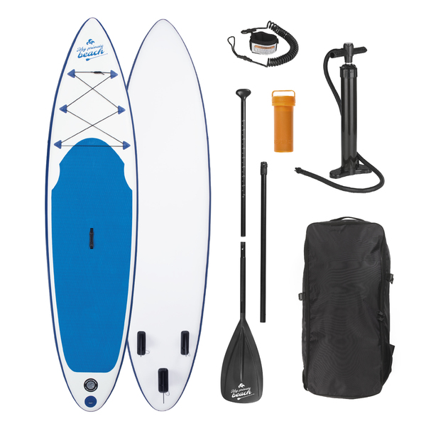 EASYmaxx Stand Up Paddle Board - Paddelboard Wellenreiter aufblasbar - 320 x 76 x 15 cm - weiß/blau | SUP | Surfboard