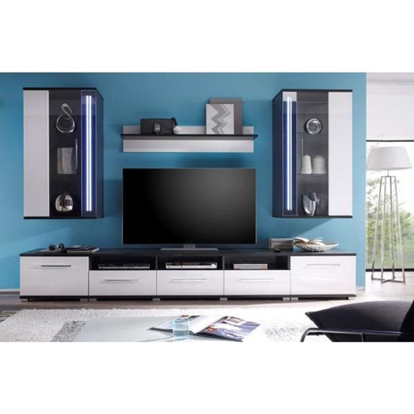 wohnwand mirror hochglanz grau wei ca 275 x 195 x 50 cm. Black Bedroom Furniture Sets. Home Design Ideas