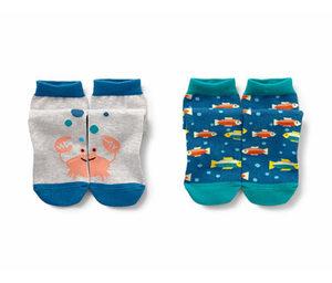 2 Paar Kinder-Motivsocken, blau und hellgrau