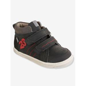 VERTBAUDET   Leder-Sneakers für Jungen Anziehtrick schwarz