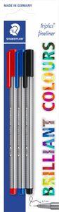 STAEDTLER Fineliner triplus sortiert 3 Stück (blau, schwarz, rot)