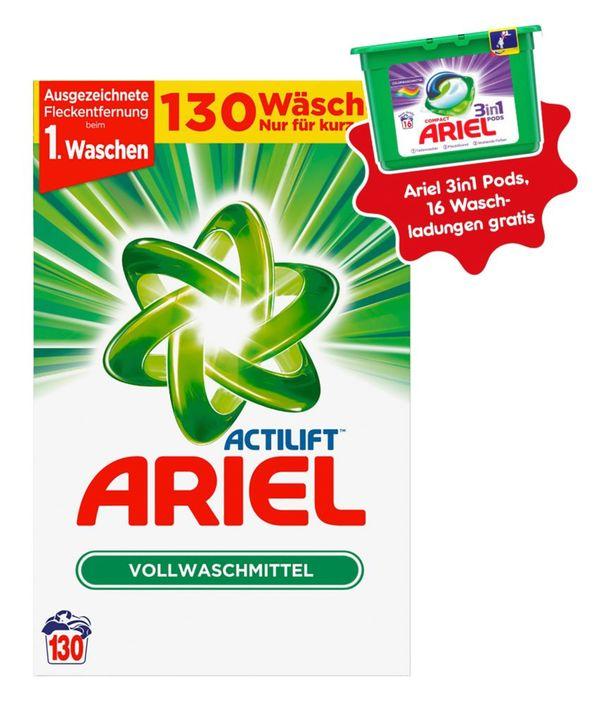 Ariel Vollwaschmittel Pulver 130 Waschladungen + 3in1 Pods Colorwaschmittel 16 Waschladungen gratis