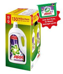 Ariel Colorwaschmittel Flüssig 130WL + Ariel 3in1 PODS Colorwaschmittel 16 Waschladungen gratis