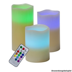 LED Wachskerzen Set 3 Stück multicolor mit Fernbedienung