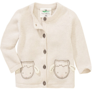 Baby Strickjacke mit Schaf-Applikation