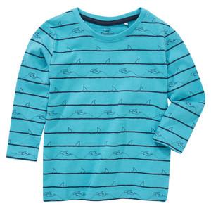 Jungen Langarmshirt mit Hai-Print