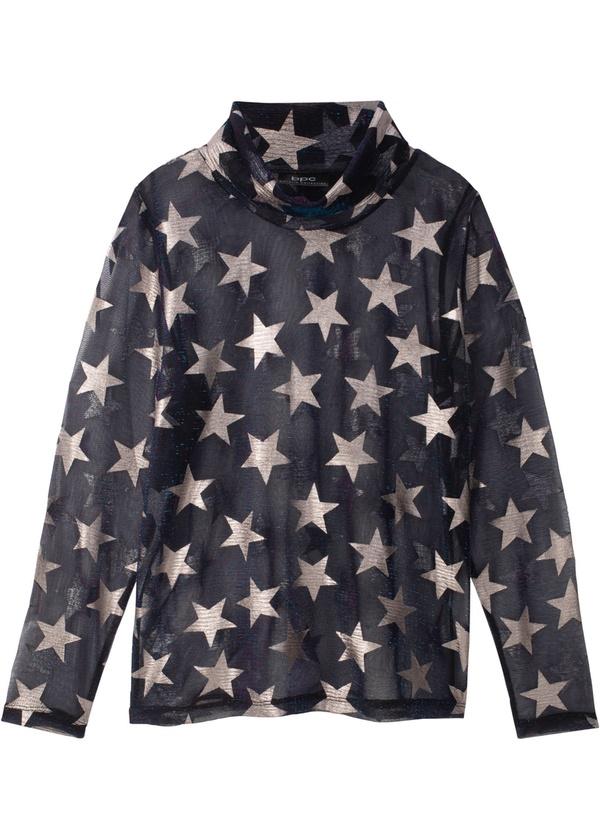 Transparente Bluse mit Sternendruck