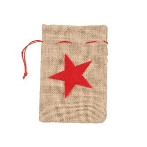 Geschenkebeutel, Leinensack, Weihnachtsstern, klein