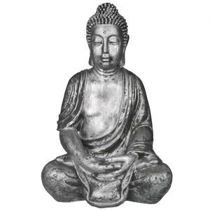 Buddha-Figur silberfarben