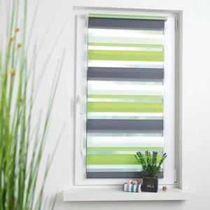 Bella Casa Vario-Duo-Rollo mit Klemmträger Größe 60 x 150 cm grün/grau/weiß