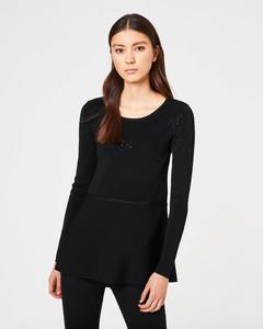 Peplum-Pullover mit Strasssteinen