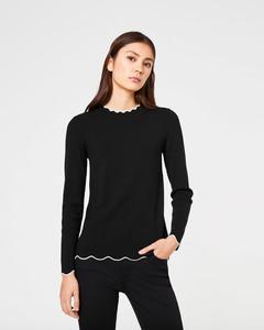 Feinstrick-Pullover mit Bogenkanten
