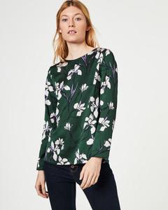 Crinkle-Bluse mit Lilienprint