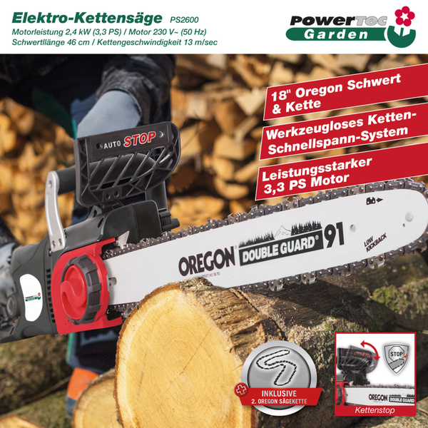 Powertec Garden Elektro-Kettensäge PS2600 inkl. 2 Oregon Ketten