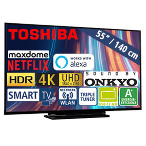 "55""-Ultra-HD-LED-TV 55V5863DA • HbbTV • 3 HDMI-/2 USB-Anschlüsse, CI+ • 2 x 10 Watt RMS • Stand-by: 0,5 Watt, Betrieb: 86 Watt • Maße: H 72,2 x B 124,3 x T 7,4 cm • Energie-Effizienz"