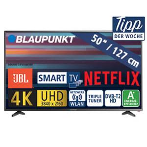 """50""""-Ultra-HD-LED-TV BLA-50U405P • 3 HDMI-/2 USB-Anschlüsse, USB 3.0, CI+ • SD-Kartenslot • 2 x 10 Watt RMS • Stand-by: 0,5 Watt, Betrieb: 70 Watt • Maße: H 65,6 x B 112,4 x T 8,5 cm •"""