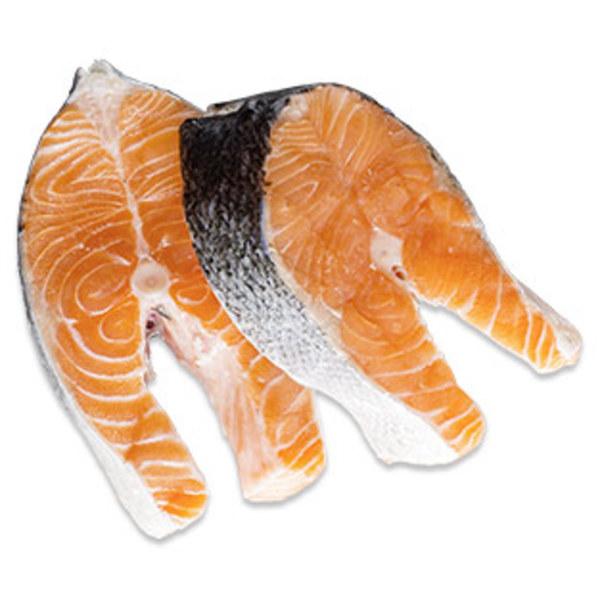 Lachssteaks  für Sie frisch geschnitten, Aquakultur, Norwegen, je 100 g