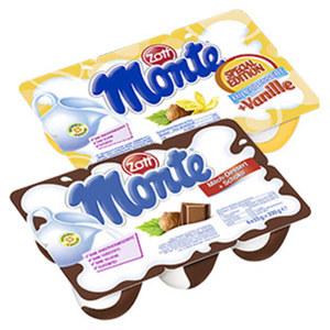 Zott Monte Milch-Dessert + Schoko oder Vanille jede 6 x 55 g = 330-g-Packung