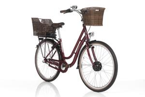 FISCHER Citybike E-Bike Retro ER 1804, 28 Zoll, Bordeaux, inkl. 2 Fahrradkörbe