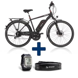 FISCHER Trekkingbike E-Bike ETH 1828-S1 Herren, 28 Zoll, Rahmenhöhe 50 cm, Dunkelanthrazit-matt incl. Pulsuhr mit Brustgurt